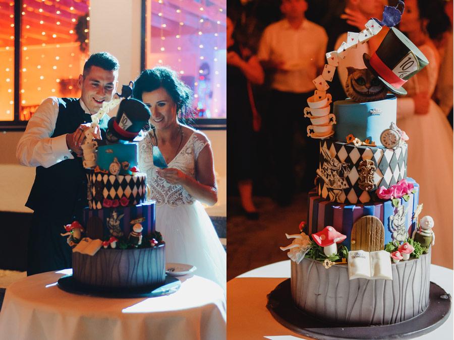 wesele alicja z krainy czarów tort